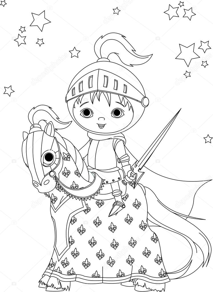 747x1024 The Brave Knight On The Horse Coloring Page Stock Vector