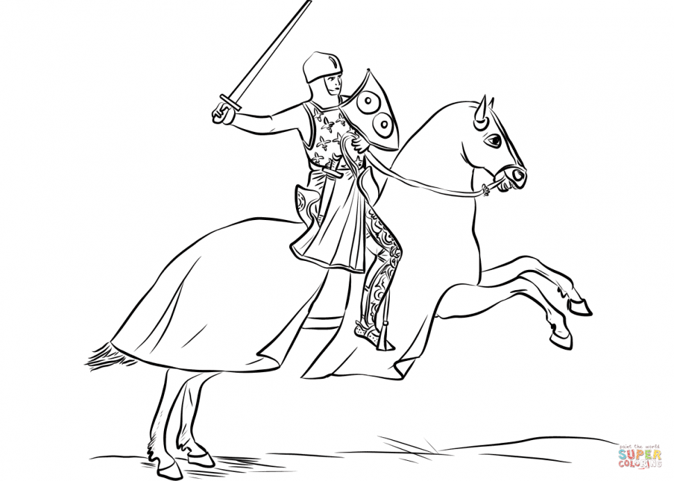 970x693 Coloring Armored Knight Mounted On Cloaked Horse Coloring Page