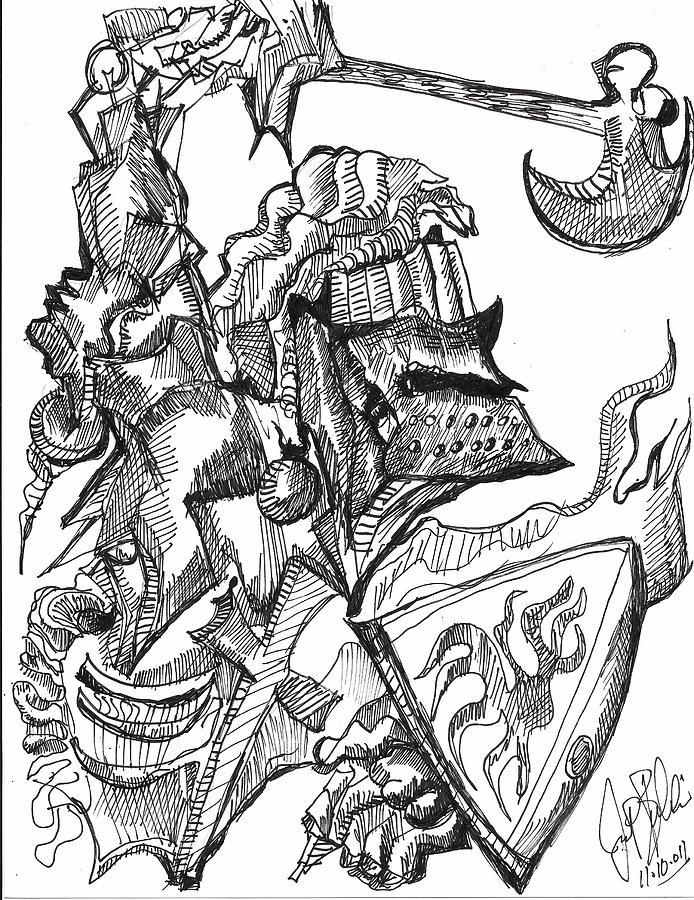 694x900 Knight Battle Drawing By Jon Baldwin Art