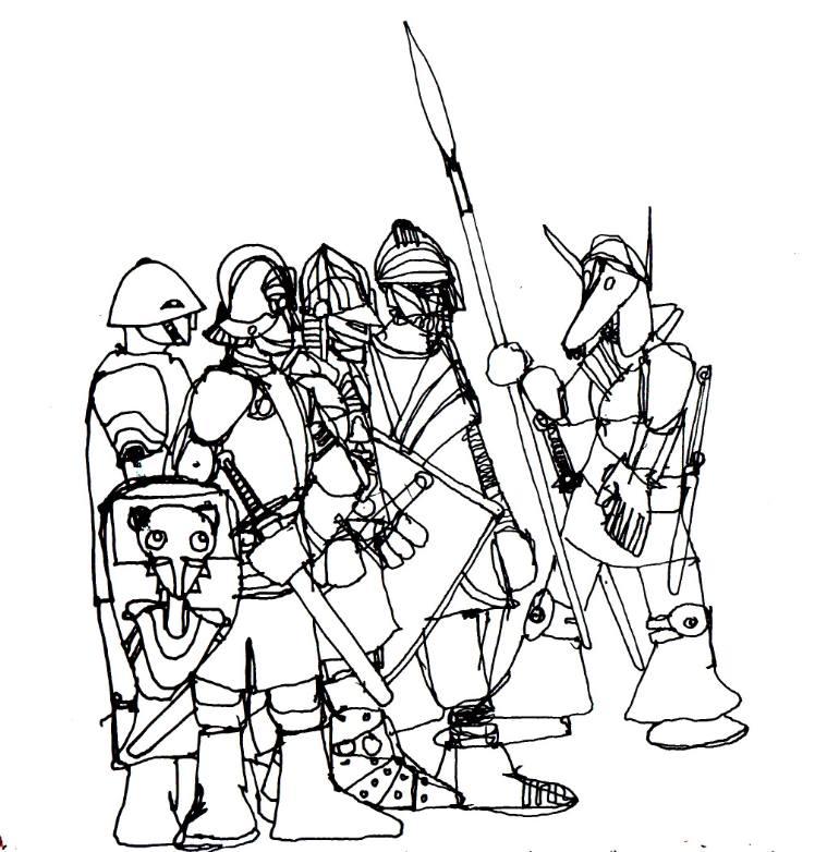 770x782 Saatchi Art Knights Drawing By Miki Sandorov