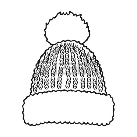 450x450 Knit Cap Icon In Outline Style Isolated On White Background