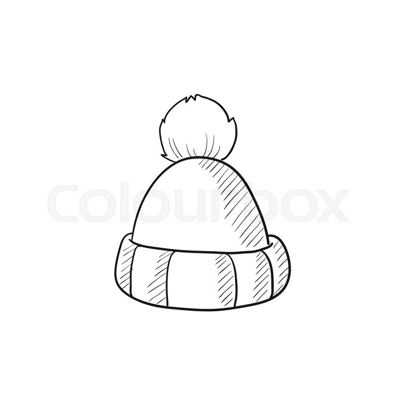 800x800 Knitted Hat Vector Sketch Icon Isolated On Background. Hand Drawn
