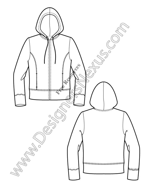 612x792 V10 Knits Hoodie Free Illustrator Fashion Flat Sketch Template