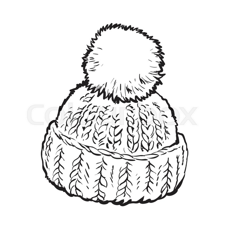 800x800 Bright Winter Knitted Hat With Pompon, Sketch Style Vector