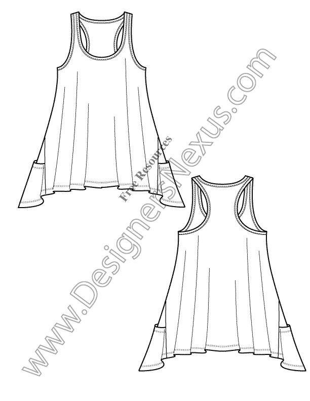 612x792 V16 Hi Lo Tank Free Illustrator Knit Fashion Flat Sketch Template