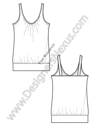 316x409 V17 Knit Tank Free Illustrator Fashion Flat Drawing Template