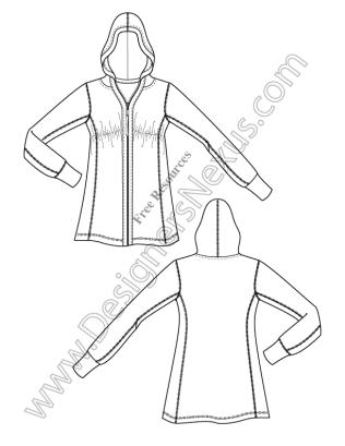 316x409 V3 Knit Hoodie Illustrator Fashion Technical Drawing