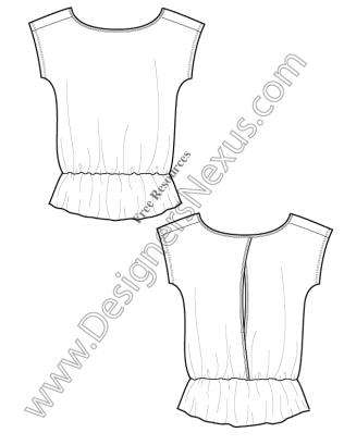 316x409 V8 Knit T Shirt Tunic Template Free Illustrator Fashion Flat