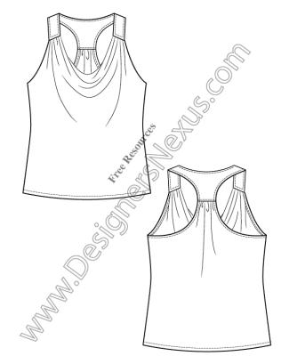 316x409 V9 Knit Tank Top Free Illustrator Fashion Flat Sketch Templates