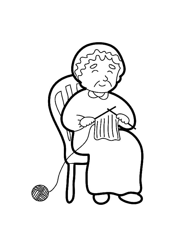 600x849 Grandmother Knitting Coloring Pages Color Luna