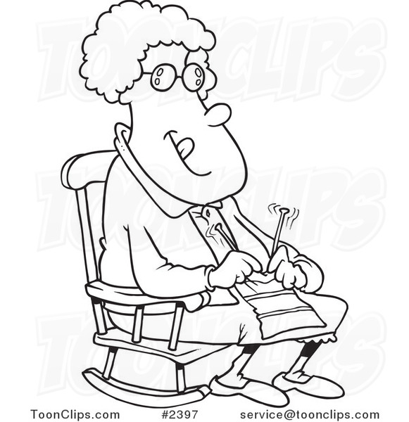 581x600 Cartoon Blacknd White Line Drawing Of Granny Knitting In