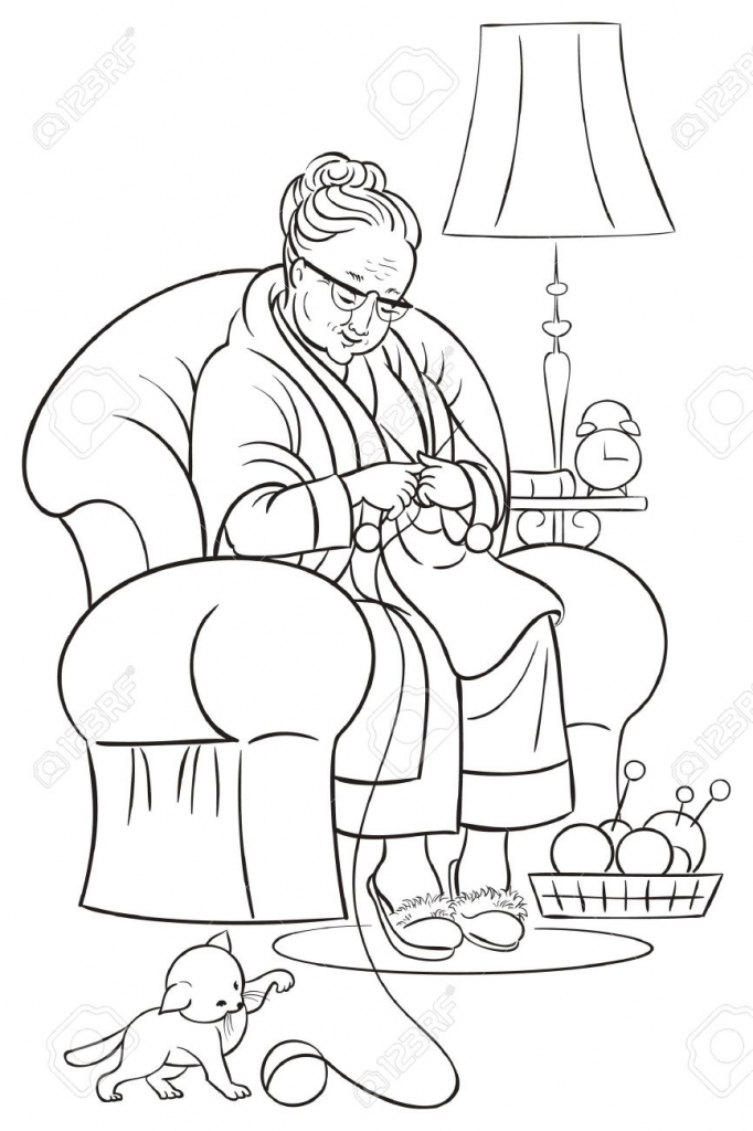 682x1024 Cartoon Drawing Grandmother Coloring Book With Grandmother Sitting