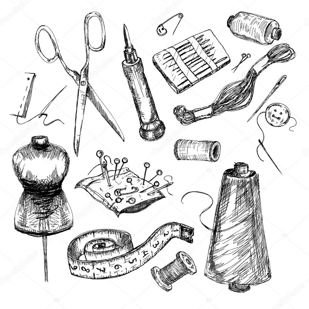 1024x1024 Collection Of Highly Detailed Hand Drawn Sewing And Knitting Tools