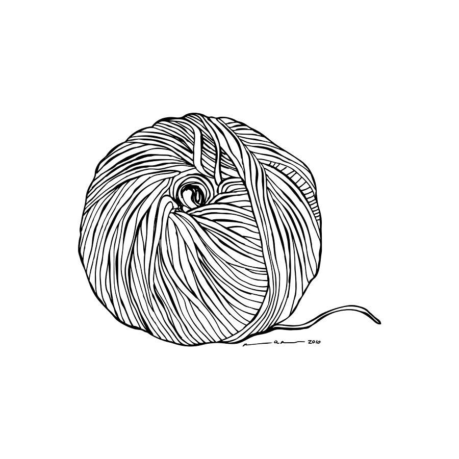 900x900 Ball Of Yarn Drawing Ball Of Yarn And Knitting Needles Stock