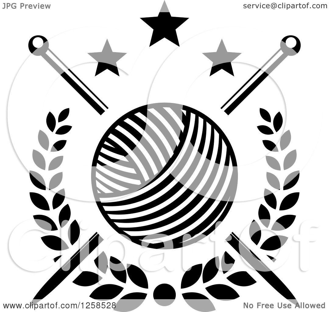 1080x1024 Clipart Of Black And White Knitting Needles And Yarn With Stars