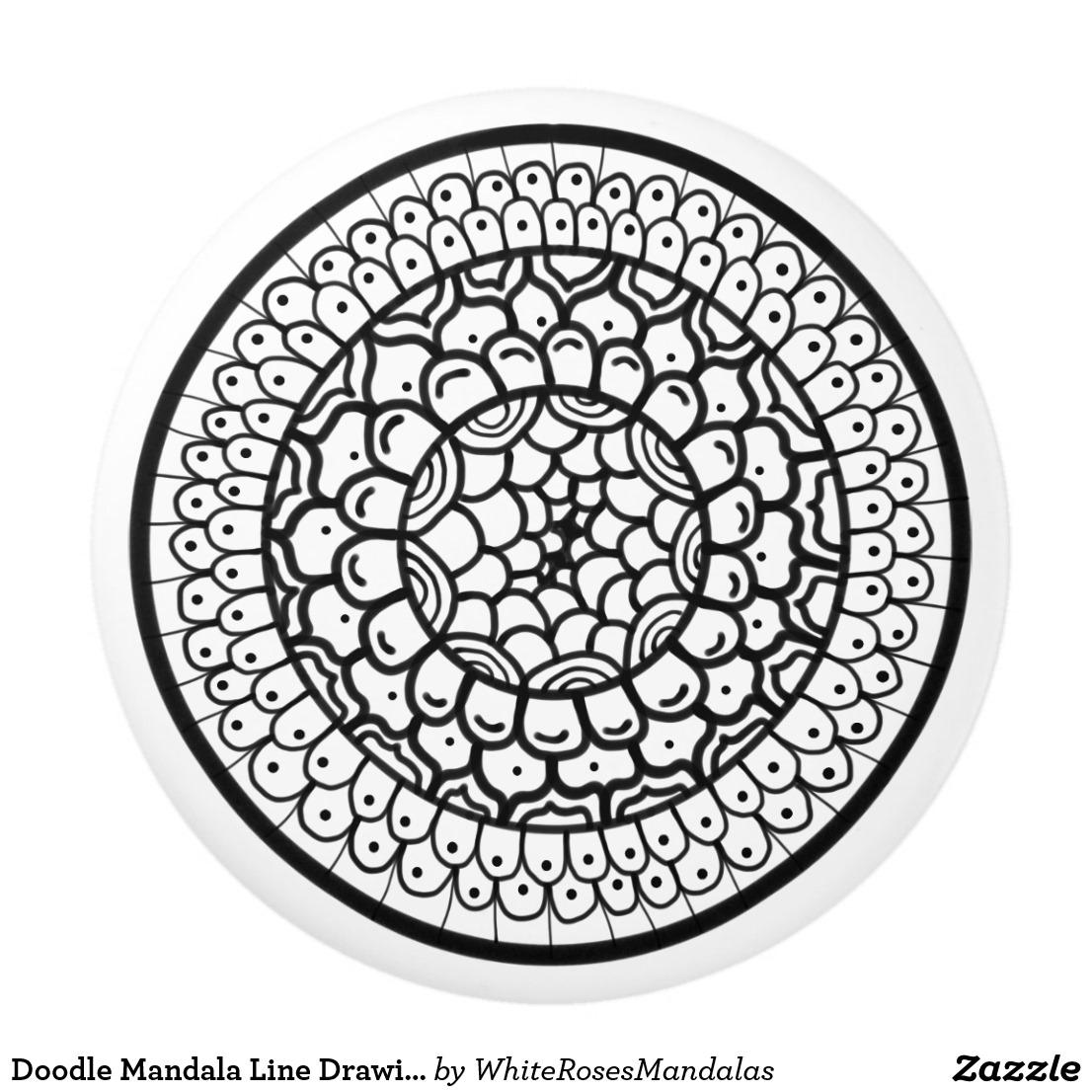 1106x1106 Doodle Mandala Line Drawing Black Circle Dots Ceramic Knob