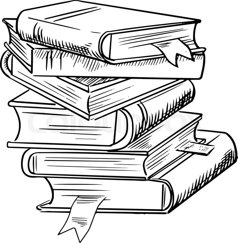 784x800 Stack Of Books With Bookmarks Isolated On White Background,