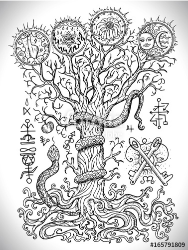377x500 Black And White Drawing With Mystic And Christian Religious