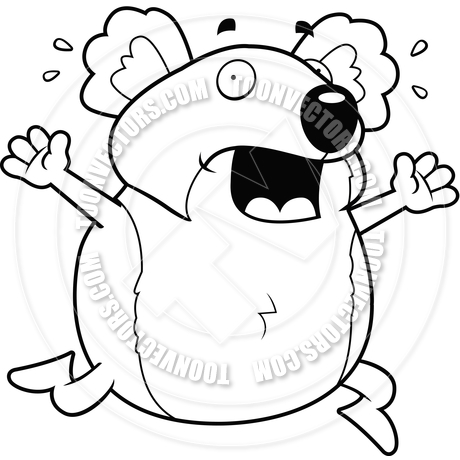 460x460 Cartoon Koala Panic (Black And White Line Art) By Cory Thoman