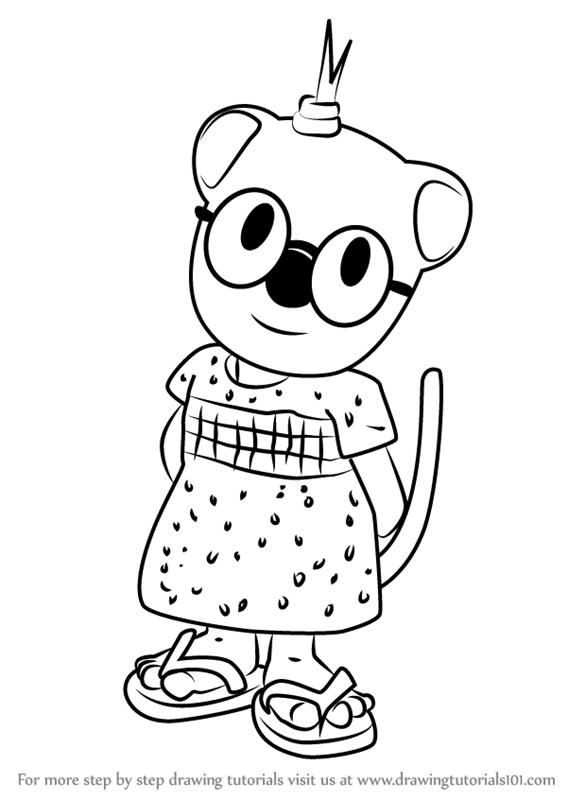 567x800 Learn How To Draw Mitzi From The Koala Brothers (The Koala