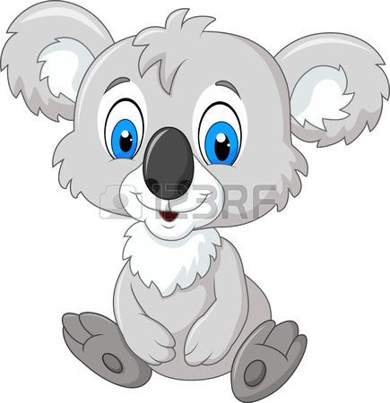 435x450 Vector Illustration Of Cartoon Adorable Koala Sitting Isolated
