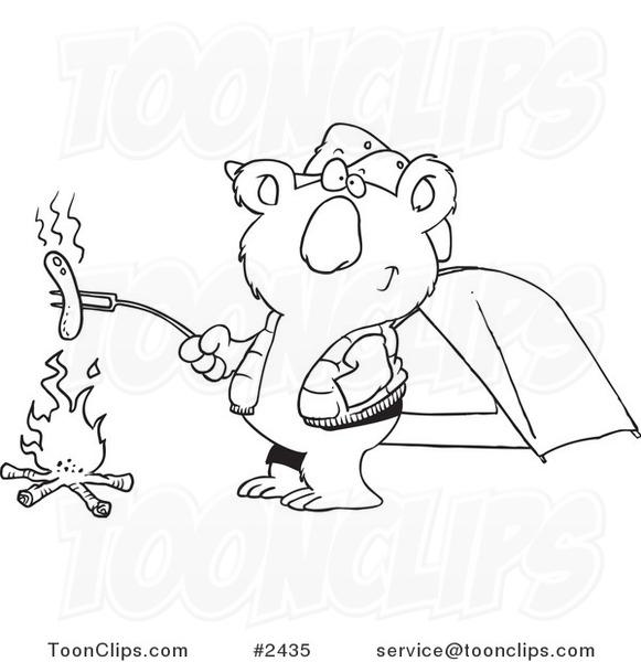 581x600 Cartoon Blacknd White Line Drawing Of Camping Koala Roasting