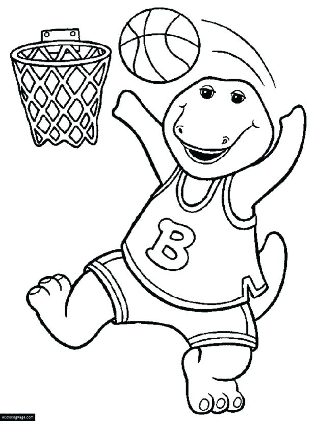 618x824 Kobe Bryant Coloring Pages Dinosaur Barney Playing Basketball