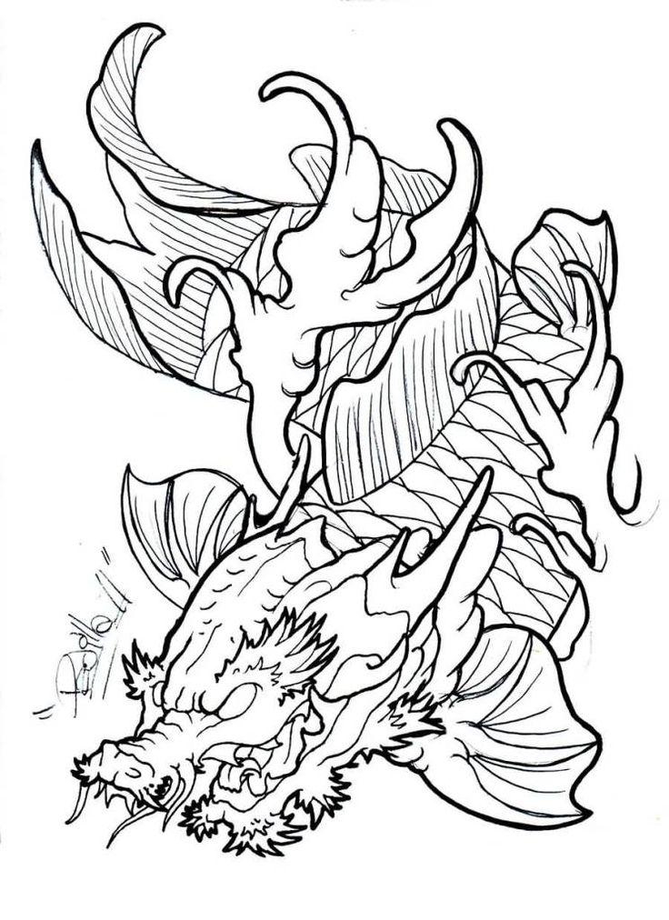 Koi Dragon Drawing