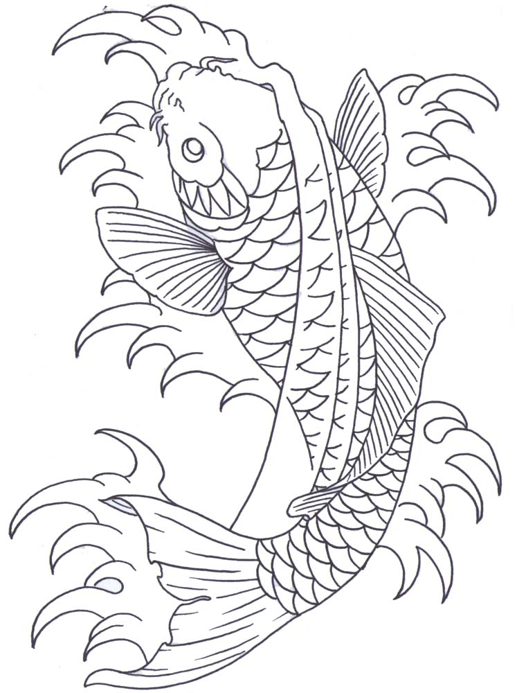 747x1000 Koi Outline By Iamthesorrow On Koi Fish Tattoo