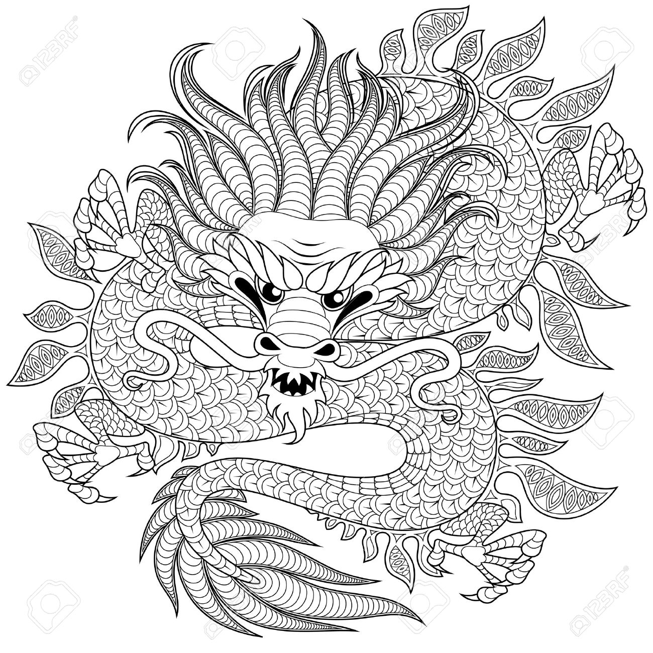 1300x1300 Chinese Dragon In Zentangle Style For Tatoo. Adult Antistress