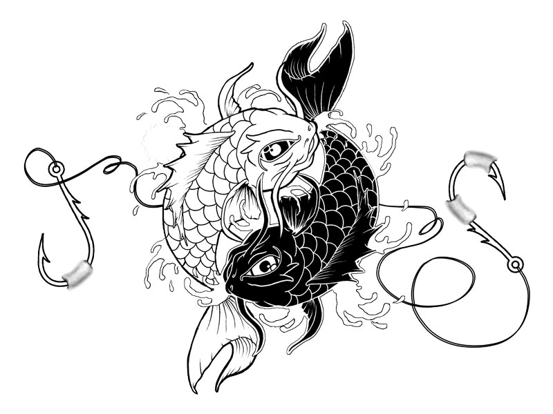 Koi Fish Dragon Drawing