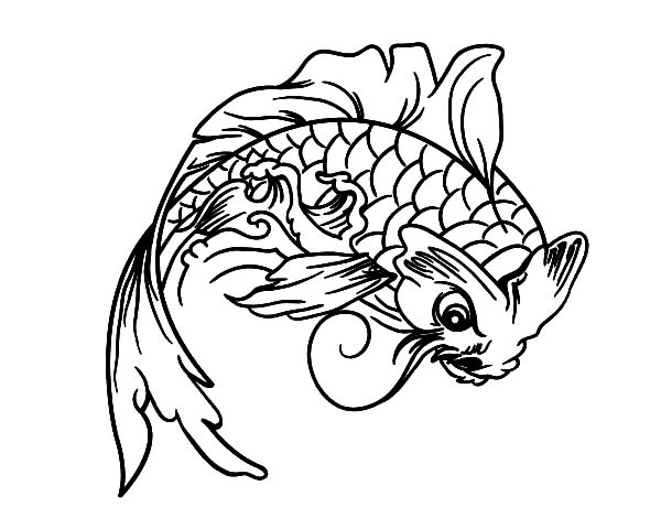 600x470 Koi Fish Look Angry Coloring Pages