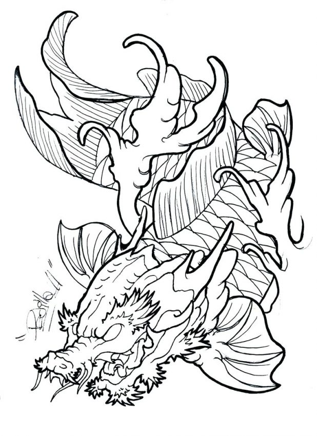 618x850 Angry Outline Fish Dragon Tattoo Design By Template Welsh Drawing
