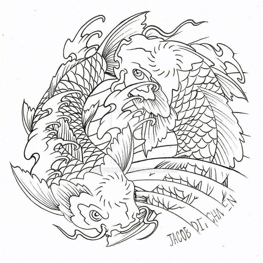 894x894 Yin Yang Koi Commission By Jditchmen