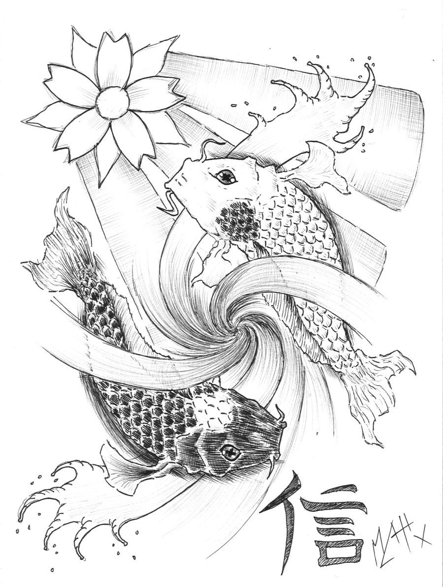 900x1194 Collection Of Yin Yang Koi Tattoo Sample