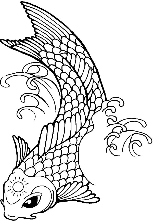 Lovely 600x867 Koi Fish With Sun Tattoo On Its Forehead Coloring Pages Koi Fish