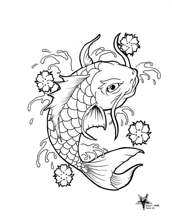 600x776 Black Outline Koi Fish Tattoo Design Fabulous