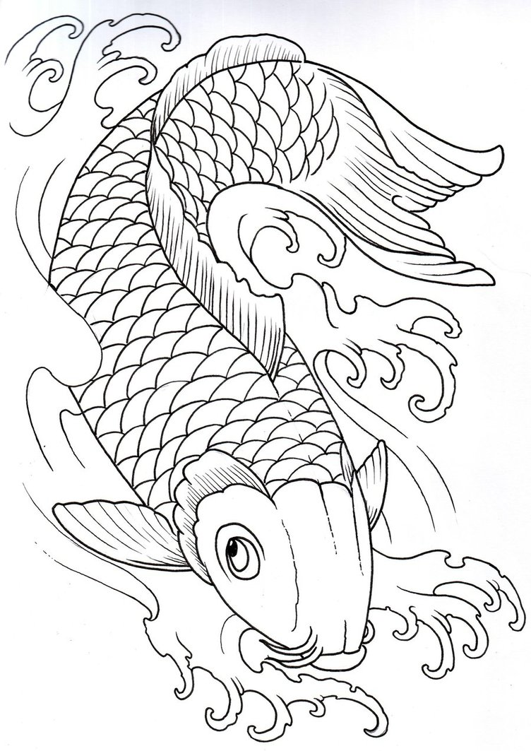 752x1063 Koi Outline. Decided Not To Add Any Water To This One Since I