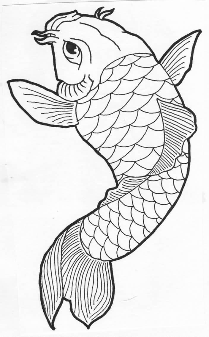 704x1133 Simple Draw Koi Fish Tattoo Design