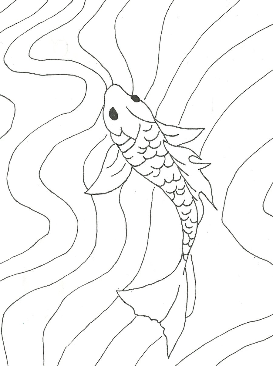 900x1207 Simple Koi Fish Drawing Silk Painting, Batik, Dying