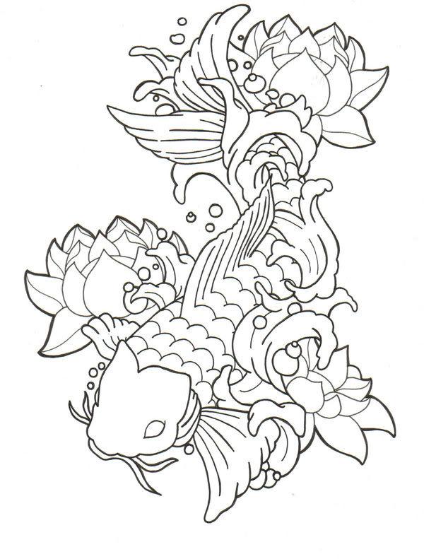 600x791 Drawn Koi Line Art