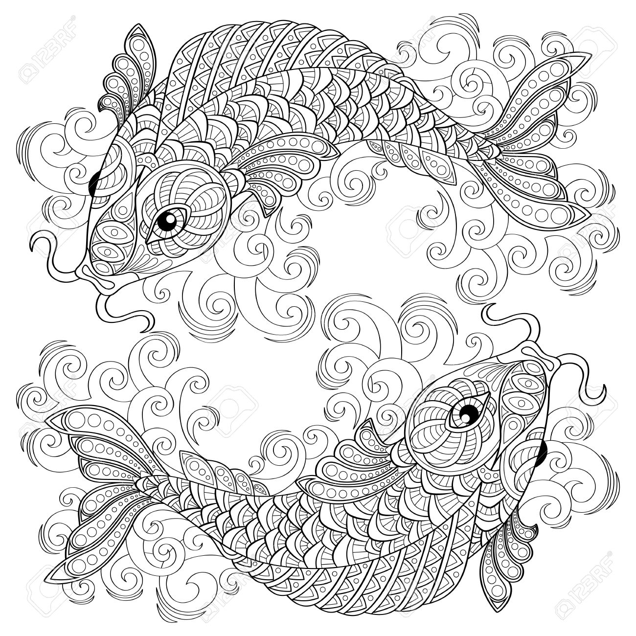 Koi Fish Drawing Step By Step