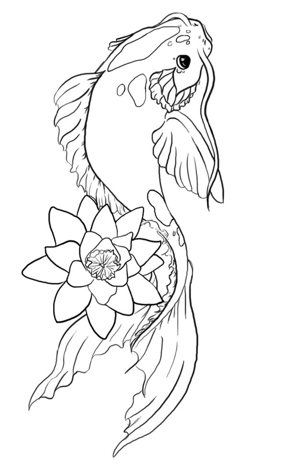590x960 Coy Line Drawing Graphics Koi, Embroidery And Rock