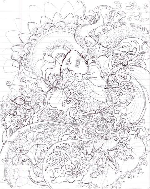 480x603 Design Process Of Koi Illustration