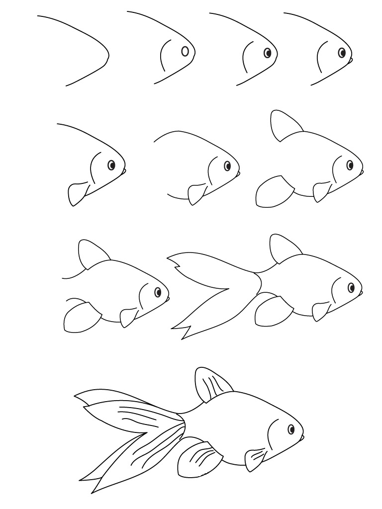 768x1024 Drawing Fish Step By Step Drawing Tutorial How To Draw Cute Fish