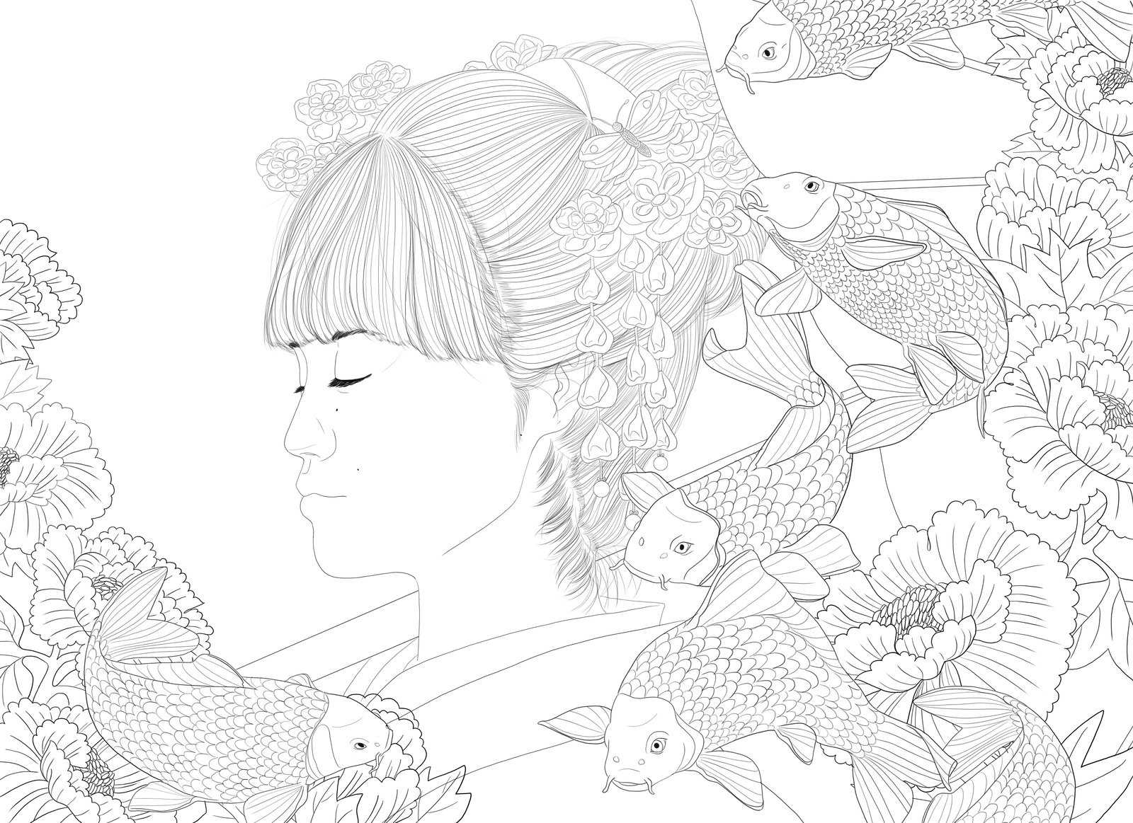 1600x1163 Yukina Japanese Style Koi Fish Flowers Lineart By Rijio