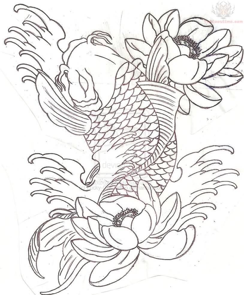 Koi Fish Line Drawing at GetDrawings.com | Free for personal use Koi ...