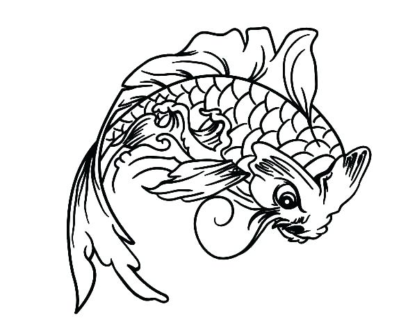 600x470 Koi Fish Coloring Pages Steampunk Fish A Adult Coloring Koi Fish