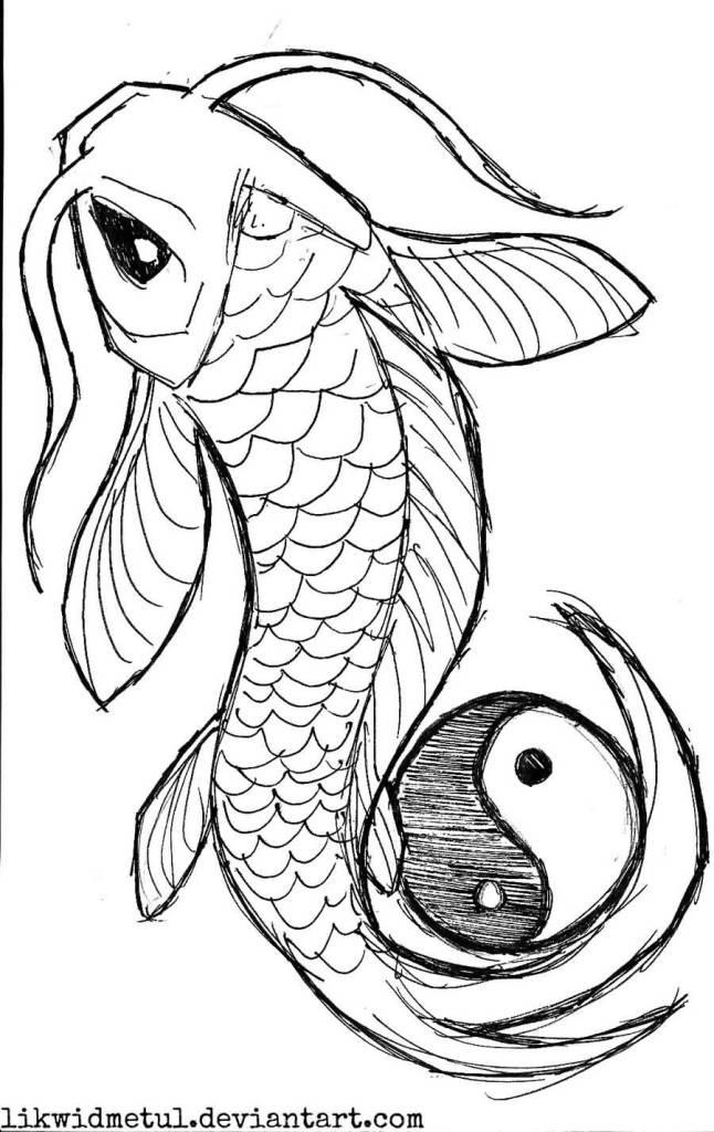 646x1024 Black Outline Yin Yang Koi Fish Tattoo Design