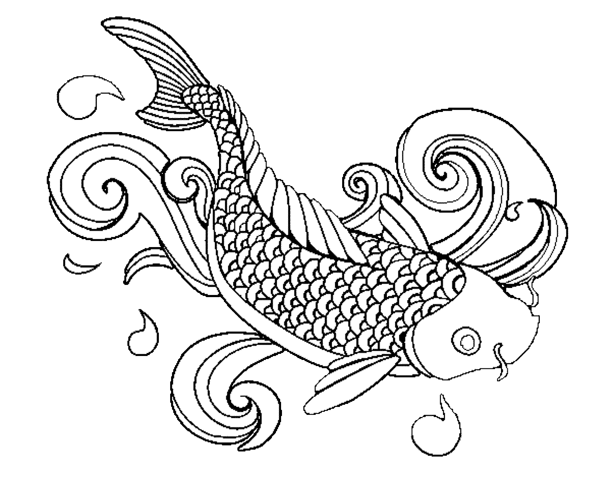 2000x1567 Fish Coloring Page Koi Printable General Free Color Book To Print